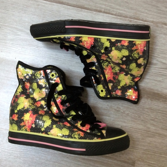 Skechers Daddy'S Money Floral Sequin Wedge Sneaker