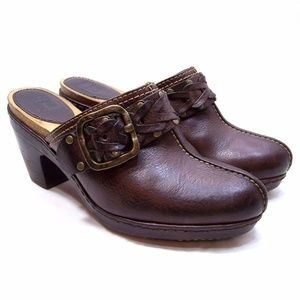 Frye Brown Buckled Mules / Clogs Leather 7.5