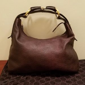 Gucci Leather Horsebit Medium Handbag Hobo Bag