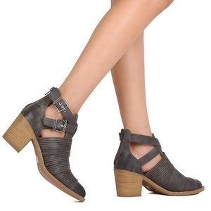 Cutout Moto Ankle Booties