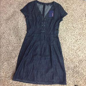 NWT Zara Lace Up Denim Dress