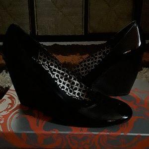 Black Patent Leather Wedge Heels