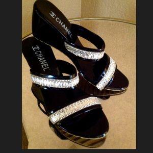Black Patent & Rhinestone Wedge Slides Sandals