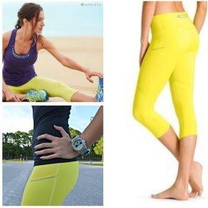 Athleta neon yellow cropped leggings