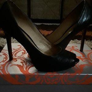 Black Leather heels by L.A.M.B