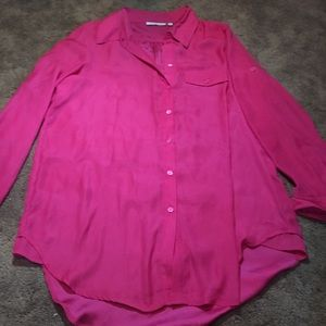 Hot Pink button up Blouse