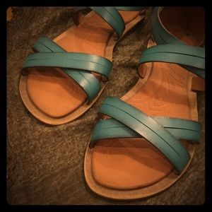 Turquoise sandals by Clarks