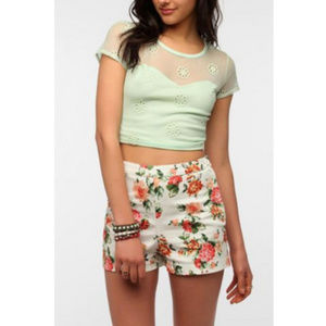 Pins and Needles Mint Mesh Floral Crop Top