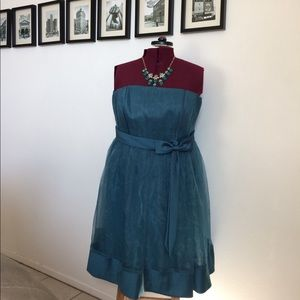 Alfred Angelo Teal Satin Sheer dress size 16W