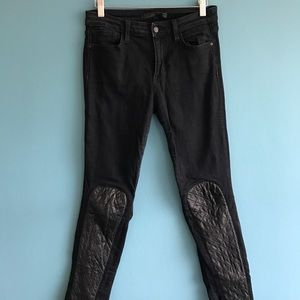 Joe's Jeans trendy leather patch skinny jeans 28