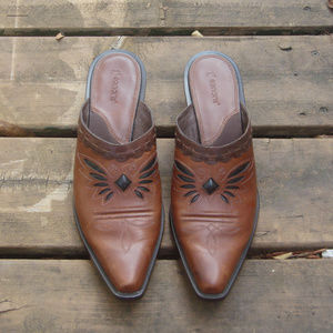Double H Brown Black Inlay Leather Western Mules