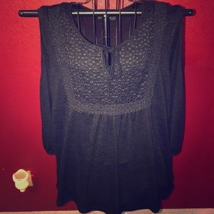 Black tunic top with cut out shoulders