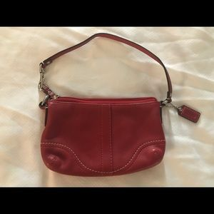 Authentic Coach wristlet wallet bag red leather
