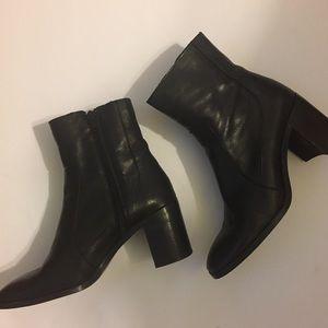 Zara black leather heeled booties