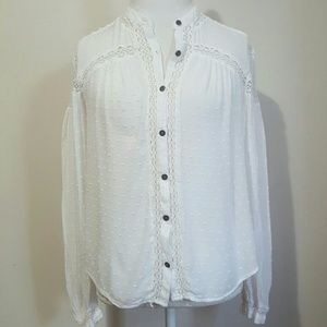 FREE PEOPLE TEXTURED RAYON BUTTON DOWN BLOUSE