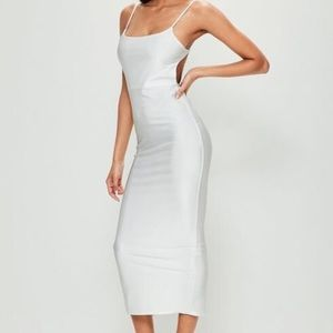 MissGuided White Ribbed Backless Ruched Midi Dress