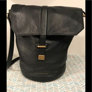 100% Marc By Marc Jacobs Black Leather Bucket Bag