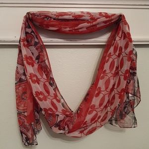 Red Black Cream Scarf Floral & Paisley