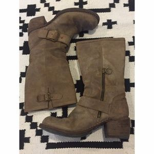 Fiorentini + Baker tan buckle boots leather moto