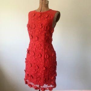 Anthropologie Red flower appliqué dress