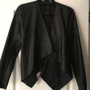 Zara black faux leather Drape jacket