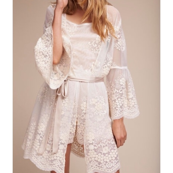 59b2fb9b5668 Anthropologie Other - Bhldn white lace robe + romper set size small