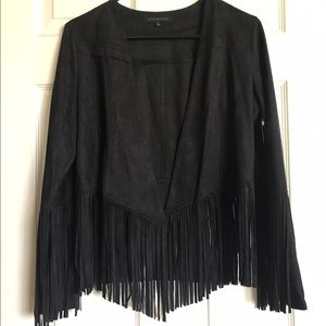 Jackets & Blazers - black fringe suede like jacket