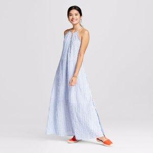 New MERONA Seersucker Striped Halter Maxi Dress