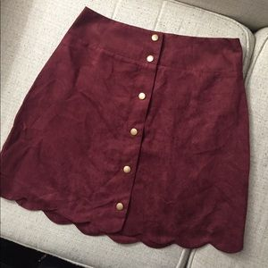 Maroon Suede Scalloped Skirt