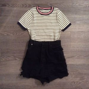 🌾 Vintage slim fit rib stripe Parisian knit Top