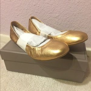 BCBGMAXAZRIA Gold Ballet Flats