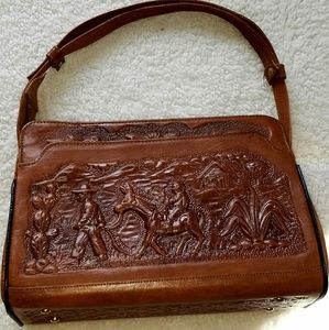 Vintage Mexican leather tooled purse