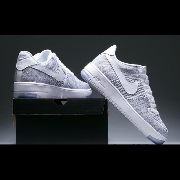 Zapatillas Hombres Nike Air Force 1 Flyknit Hombres Zapatillas 10 Cool GrisBlanco Poshmark d4ea1e