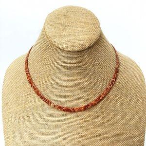 Jewelry - Paisley Print Herringbone Chain Necklace