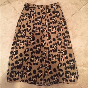 Asos cheetah print long skirt with buttons size 00