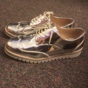Zara silver Oxford flat shoe