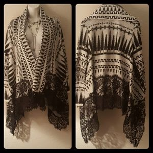 Beautiful Romantic Open Front Cardigan W Lace Trim