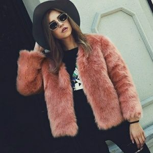 Jackets & Blazers - Faux fur pink coat