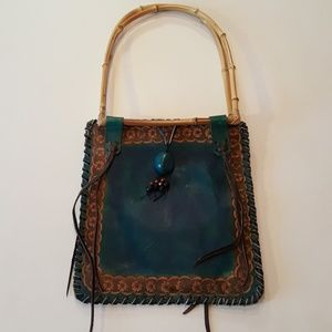 Handbags - Teal and bamboo statement bag