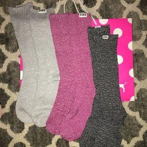 3 Pairs Victoria's Secret Pink high knee socks