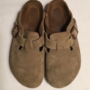 Birkenstock Taupe Suede Boston Mules sz 37