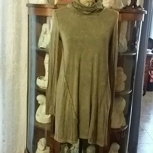 Cowl Neck Tunic Olive Green Size S