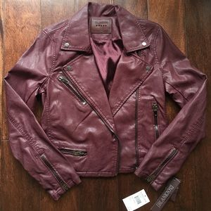 NWT BlankNYC oxblood vegan leather Moto jacket