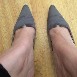 Manolo Blahnik silver grey kitten heels.