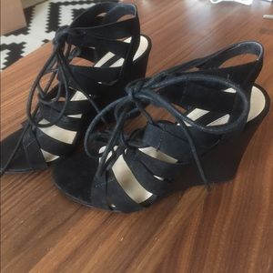 Lace up wedges, size 6