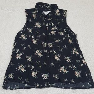 H&M button down floral sleeveless top size XS