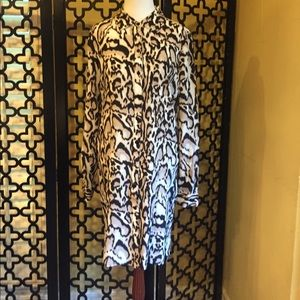 DVF LEOPARD LONG SLEEVE BUTTON DOWN BLOUSE