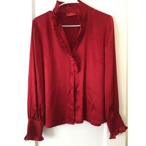 Oscar de la Renta red silk blouse