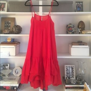 Red Free People Ruffled Dress