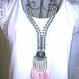 New Boho Rhinestone & Beaded Fringe Necklace